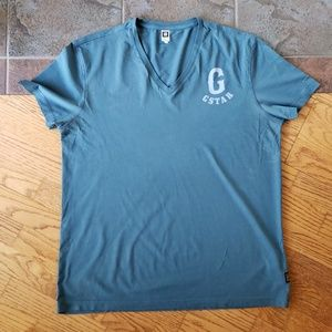 G-Star Raw XL V Neck T Shirt Aqua Blue